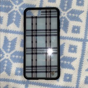 IPhone 8+ blue plaid wildflower case